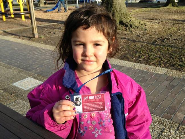 Pre-emptive strike ... the Meitiv children wear tags that say 'I am not lost'. Picture: Facebook/Danielle Meitiv