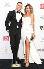 Lee Elliott and Georgia Love arrive on the red carpet at the 59th annual TV Week Logie Awards on April 23, 2017 at the Crown Casino in Melbourne, Australia. Picture: Julie Kiriacoudis