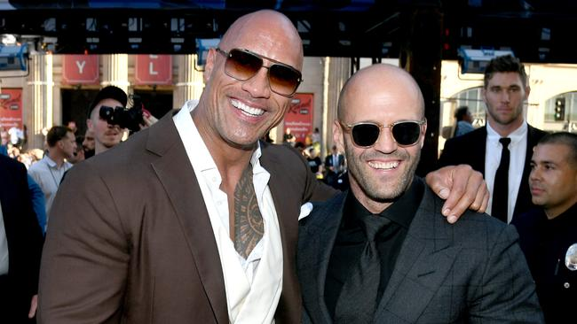 Dwayne Johnson and Statham. Picture: Kevin Winter/Getty Images