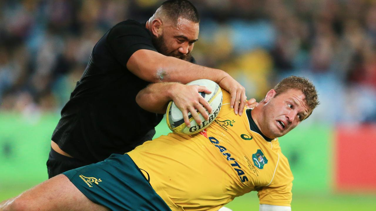 James Slippier in action for the Wallabies agianst the All Blacks. Pic Mark Evans