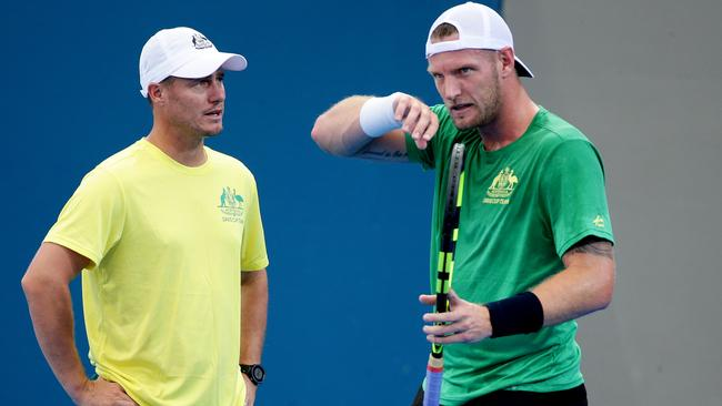Lleyton Hewitt with Sam Groth. Picture: Mark Calleja