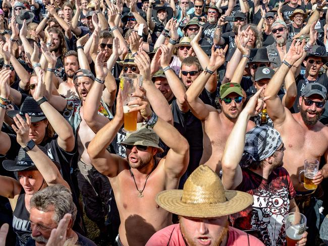 Visitors of the Wacken Open Air heavy metal music festival, 2018 in Wacken, northwestern Germany. Picture: AFP Photo/DPA/Axel Heimken/Germany Out