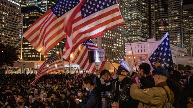 Pro-democracy protesters take part in a Thanksgiving Day rally in Hong Kong. Picture: Getty Images