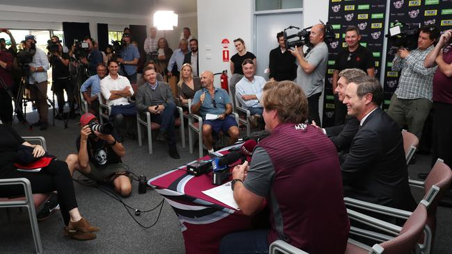 Manly announce their new coach Des Hasler.