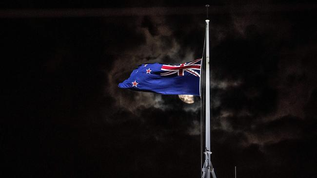 The New Zealand national flag is flown at half-mast on parliament in Wellington. Picture: AFP