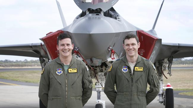 Australia's first two F-35 pilots at the Avalon Airshow in 2017. Picture: David Caird