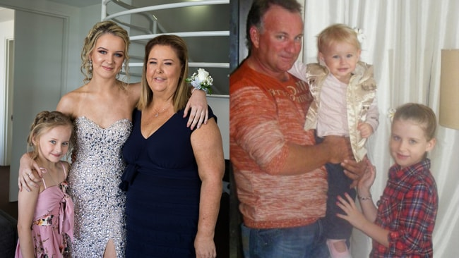 Photo: Left: Maree with her daughters Carlee and Chloe. Left: Carlee and Chloe with their dad before he passed. /supplied