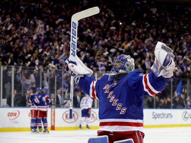 Henrik Lundqvist #30 of the New York Rangers celebrates in Game Six of the Eastern Conference First Round during the 2017 NHL Stanley Cup Playoffs.