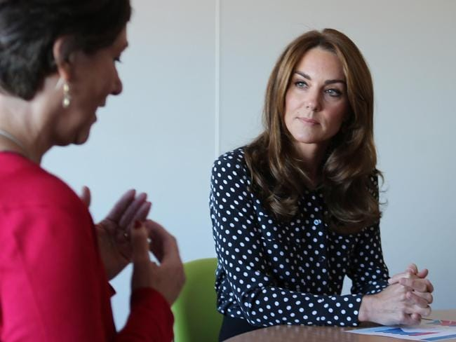 Britain's Catherine, Duchess of Cambridge chats during her visit to the Sunshine House Children and Young People's Health and Development Centre, London. Picture: AFP