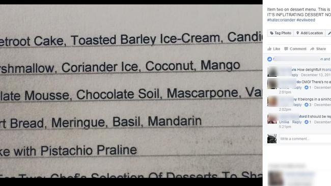 The dessert menu from hell. Picture: Supplied