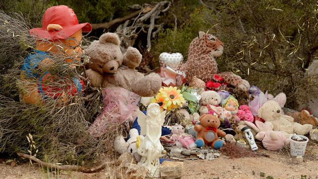 Soft toys at a memorial dedicated to the memory of Khandalyce Kiara Pearce, whose remains were found in a suitcase near Wynarka. Picture: Bianca De Marchi