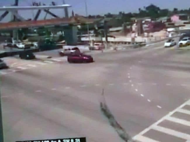 The moment on the CCTV before the bridge is seen to collapse. Picture: Supplied/Twitter
