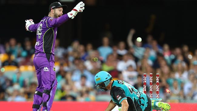 Brisbane Heat's Alex Ross is run out during the BBL match against Hobart.