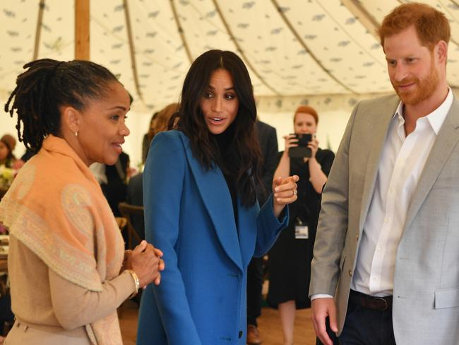Meghan, Duchess of Sussex (C) with her mother Doria Ragland (L) and Prince Harry, Duke of Sussex. Picture: Getty