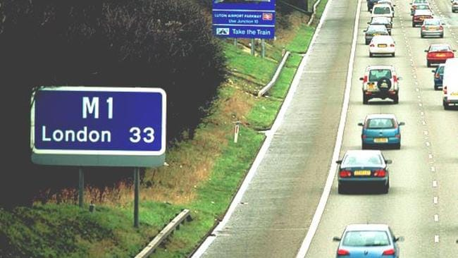 Cutting top speed limits is being considered for Britain's M1 motorway which links London to Yorkshire. Picture: Getty Images.