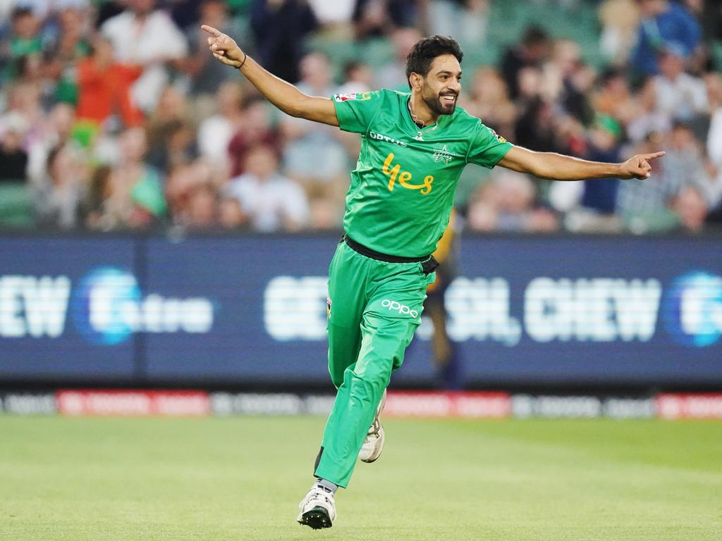 Haris Rauf of the Stars celebrates his hat trick, the second of two on the same day