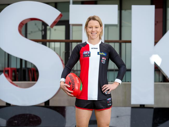 St.Kilda AFLW player.Kate McCarthy is the only footballer to play with a pacemaker. Picture Jay Town