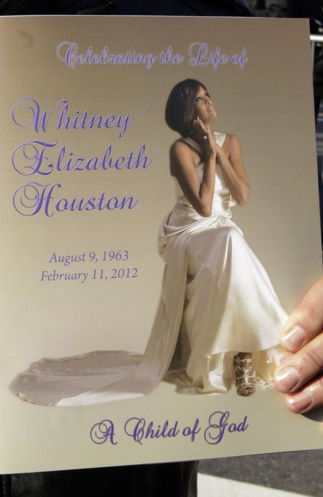 A program from Whitney Houston's funeral service. Picture: AP Photo/Peter Morgan