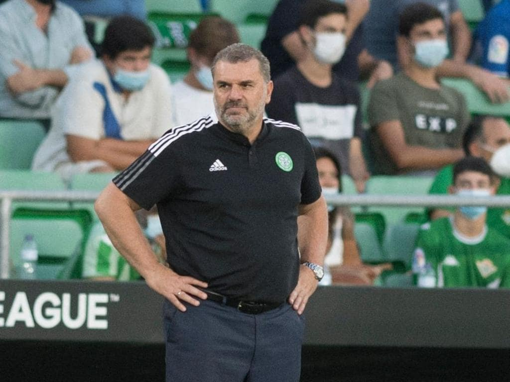 Celtic's Australian head coach Ange Postecoglou reacts during the UEFA Europa League football match between Real Betis and Celtic FC at the Benito Villamarin stadium in Seville on September 16, 2021. (Photo by JORGE GUERRERO / AFP)
