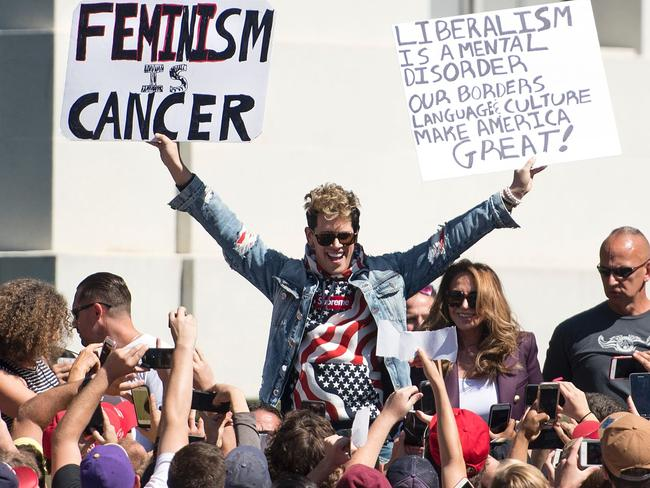 Milo Yiannopoulos gestures to supporters at the University of California, Berkeley last week. Picture: AFP/Josh Edelson
