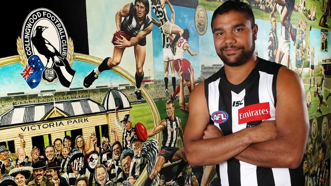 Collingwood introduces Kayle Kirby. Picture: Michael Klein