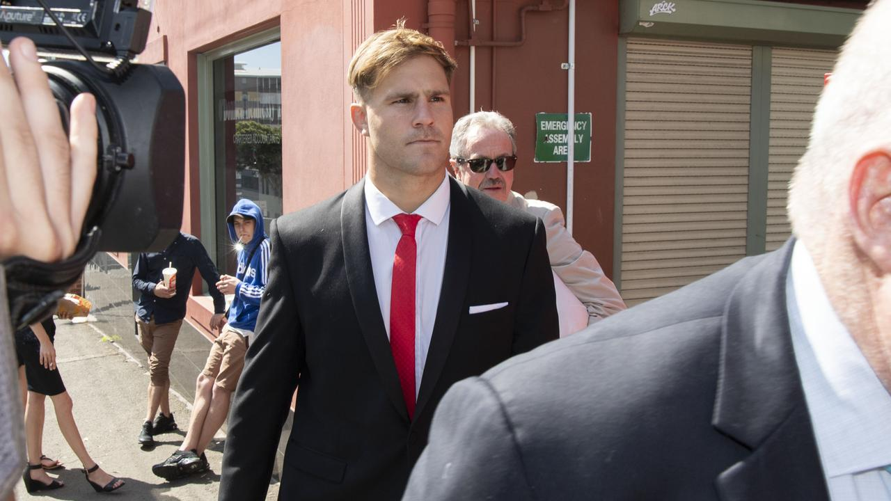 Jack de Belin enters Wollongong District Court on Tuesday morning.