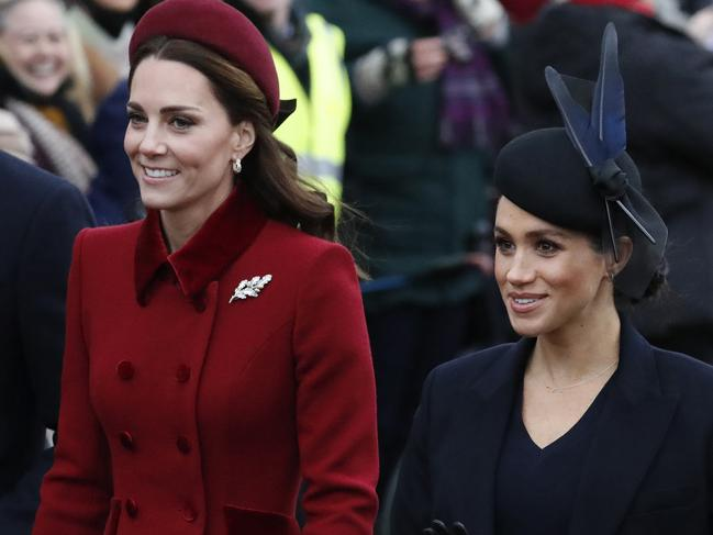 The duchesses marching side-by-side on Christmas Day. Picture: AP Photo/Frank Augstein