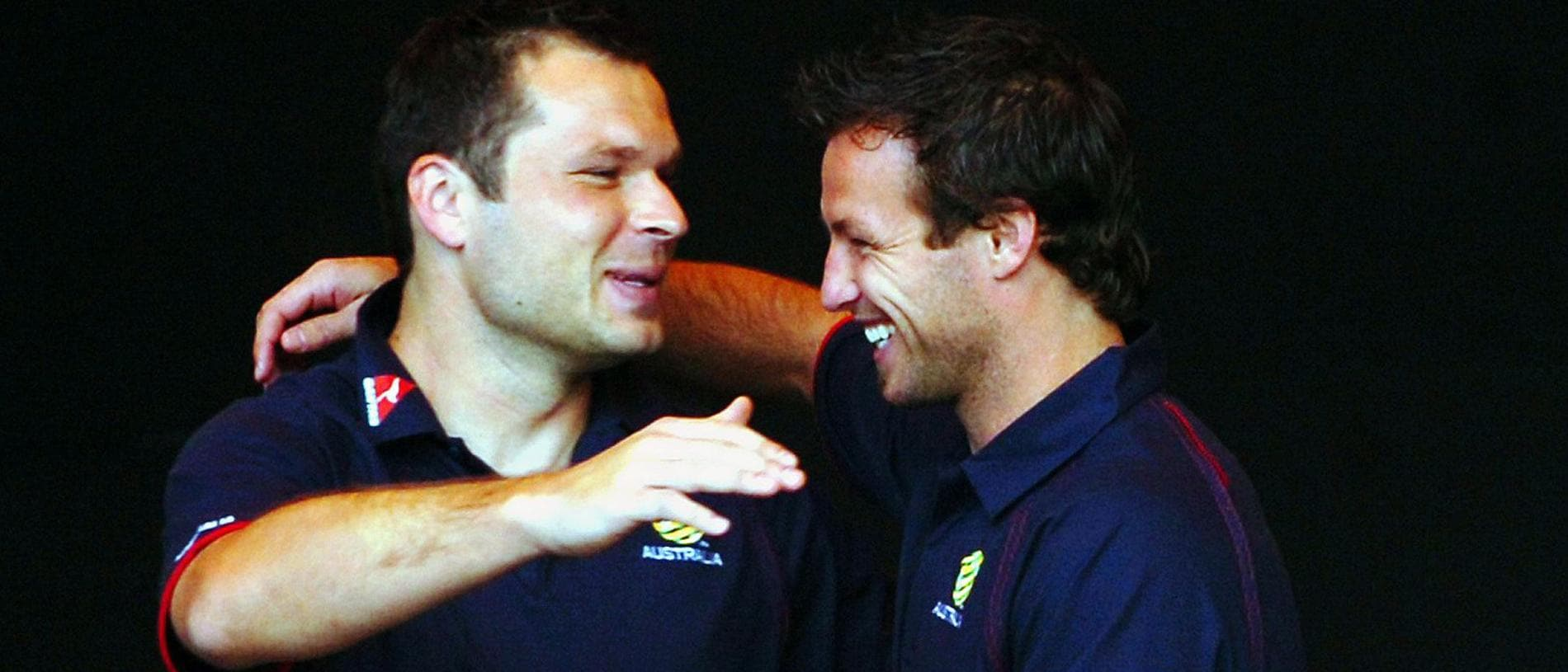 Mark Viduka and Lucas Neill Socceroos in the Domain after there win last night 17/11/05 Picture: Simon  Dean