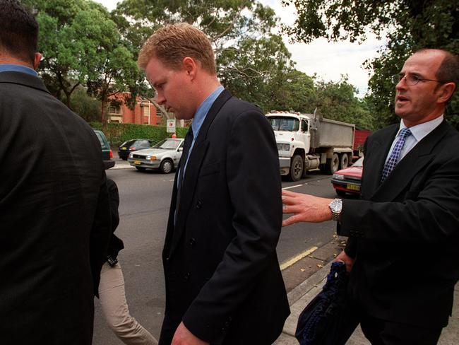 Jeffrey Gilham leaves Glebe Coroners Court after inquest into 1993 stabbing deaths of his parents family. Picture: Marc McCormack.