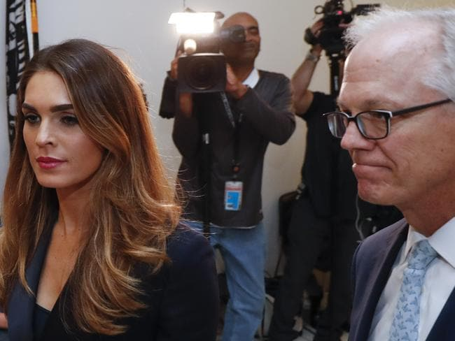 Former White House communications director Hope Hicks arrives for closed-door interview with the House Judiciary Committee. Picture: AP