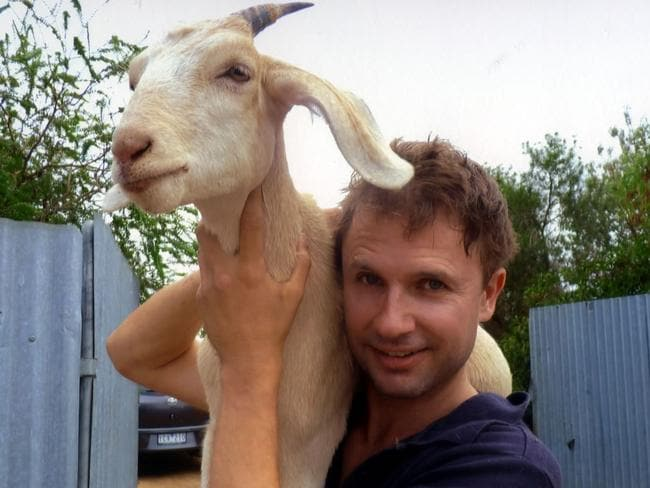 Aussie legend Gary the Goat and Jimbo Bazoobi. Picture: Supplied