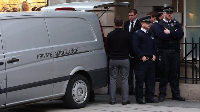 A private ambulance prepares to leave a nurses' residential building near King Edward VII's hospital where a nurse who took a hoax call concerning the Duchess of Cambridge's treatment was found dead. The nurse, named as Jacintha Saldanha, was one of two hospital staff who were responsible for inadvertently revealing details of the pregnant duchess's medical condition to two Australian DJs. Picture: Oli Scarff/Getty