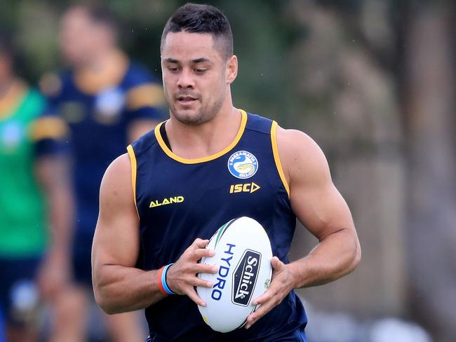 Jarryd Hayne takes part in a Parramatta pre-season training session.