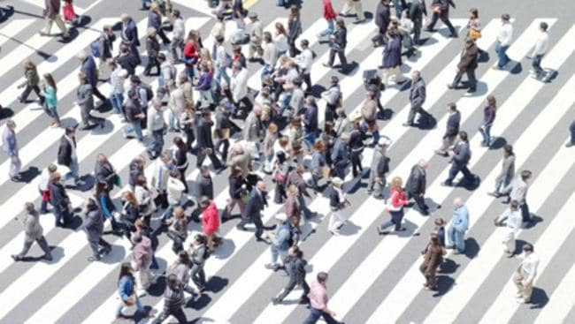 An artwork depicting pedestrians at a crossing.