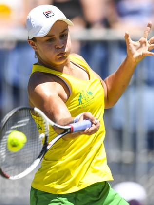 Ash Barty during the Fed Cup tie against Ukraine last month. Photo: AAP