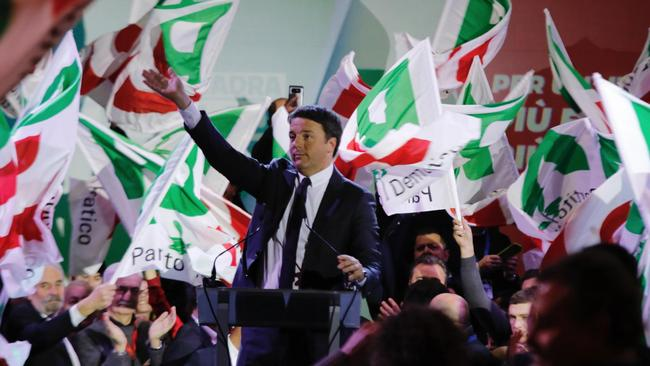 Secretary of 'Partito Democratico' (Democratic Party) and former Prime Minister Matteo Renzi speaks during the closing rally of the electoral campaign in Florence, on Friday 2 March 2018. Picture: Maurizio Degl'Innocenti/ANSA via AP