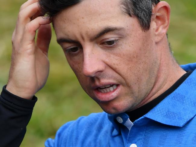 Rory McIlroy of Northern Ireland reacts on the 18th hole during the first round of the 148th Open Championship. Picture: Stuart Franklin/Getty Images