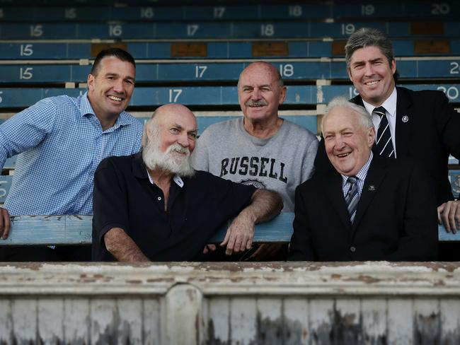 Carlton's Five best players (L to R) Stephen Silvagni, Bruce Doull, Alex Jesaulenko, John Nicholls and Stephen Kernahan sit in the old grandstand. Picture: Colleen Petch