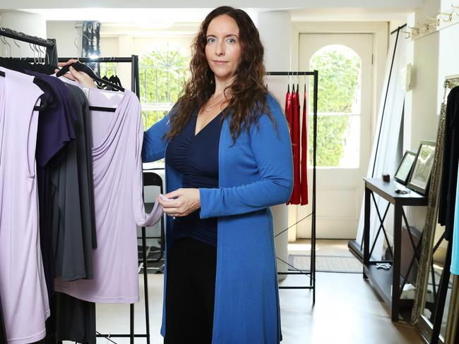 Designer Katie Perry at her fashion studio in Paddington. Picture: Rohan Kelly