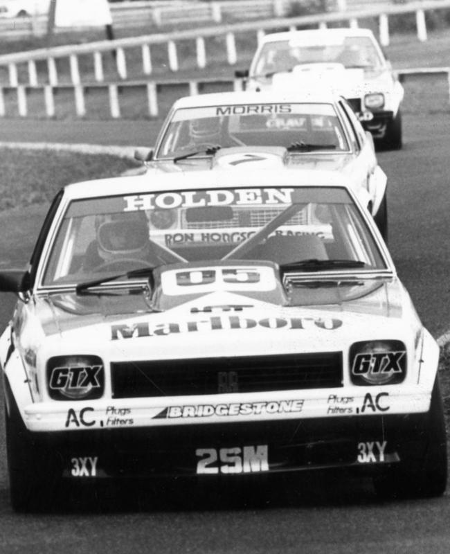 Brock leading Morris and Grice through Sandown's Esses.