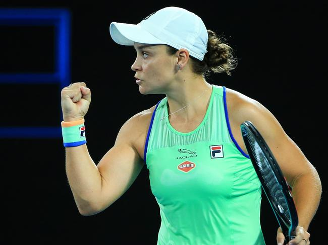 Ash Barty managed ten aces in her round one victory.