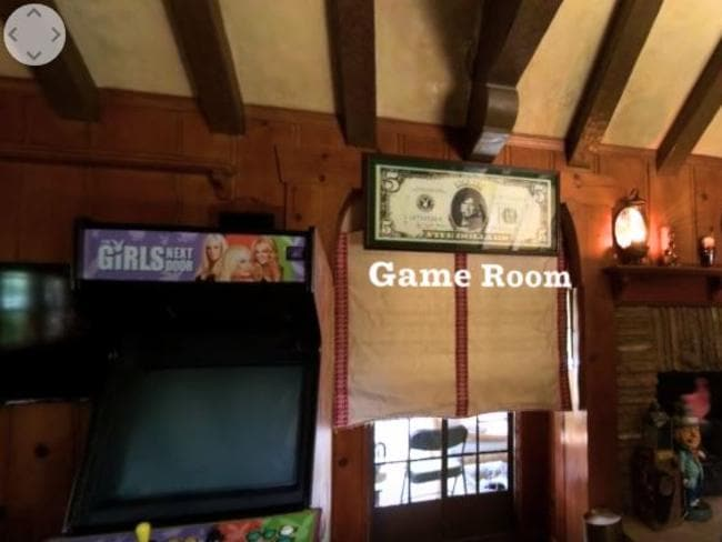 The game room inside the Playboy mansion. Picture: Supplied/Playboy YouTube channel
