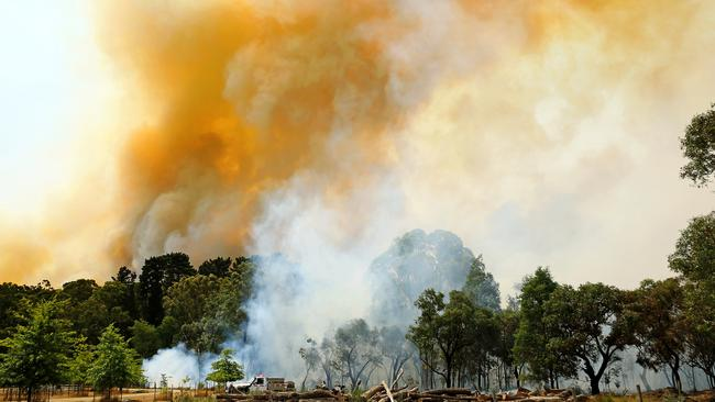 Smoke billows from the Bunyip bushfire. Picture: Mark Stewart