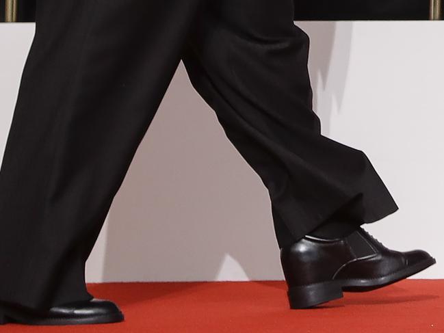 A closer look at Kim Jong-un's shoes. Picture: AP Photo/Evan Vucci