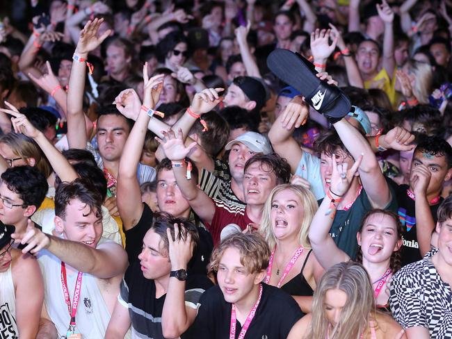 Revellers getting amongst it at Schoolies. Picture: Richard Gosling/AAP