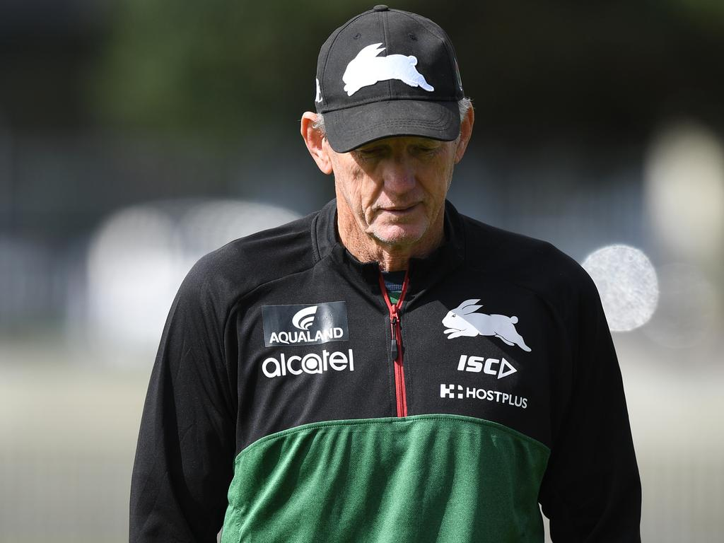 South Sydney Rabbitohs coach Wayne Bennett during a training session in Sydney, Tuesday, September 10, 2019. The Rabbitohs are set to play the Sydney Roosters in an NRL Finals match at the SCG on Friday. (AAP Image/Joel Carrett) NO ARCHIVING