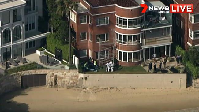 A man fell eight metres from scaffolding in Sydney's prestigious Point Piper. Picture: Seven News