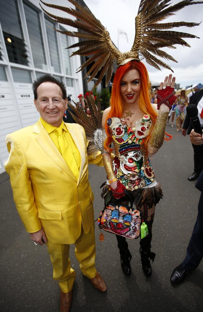 Australia's weirdest couple: Grecko with Edelsten after he proposed to her at the 2014 Melbourne Cup. Picture: Bradley Hunter.