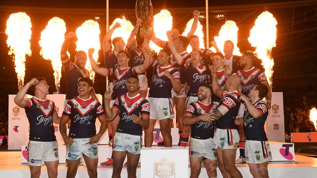 The Sydney Roosters celebrate winning the 2018 NRL grand final. Picture: AAP