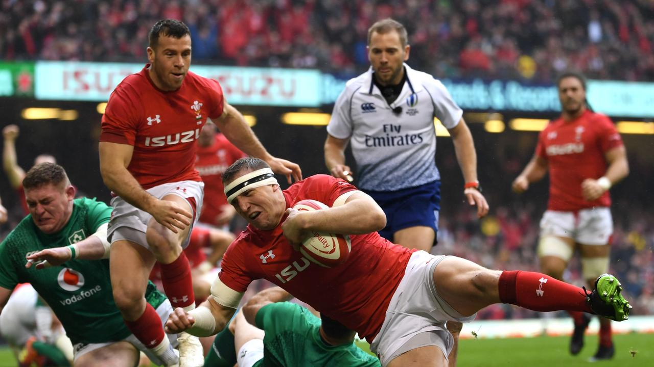 Wales' centre Hadleigh Parkes scores the only try of the Test.